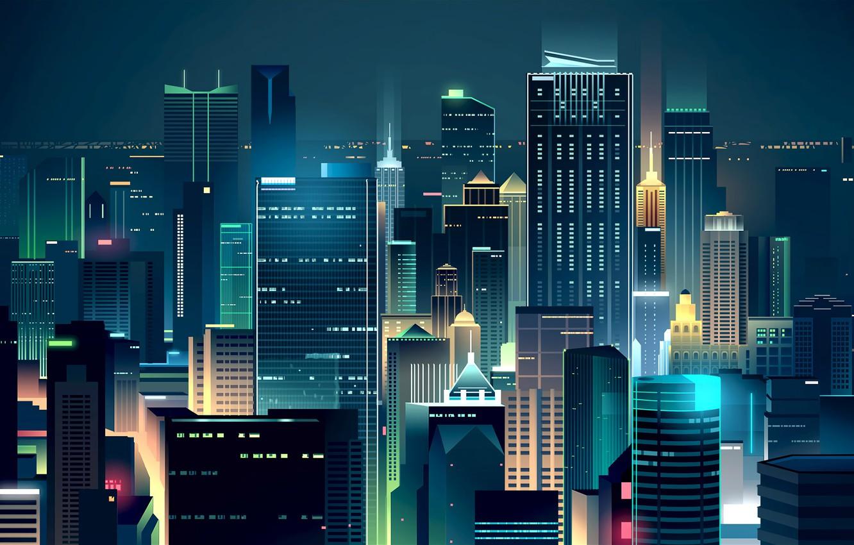 Обои небоскребы, ночь, дома. Города foto 7