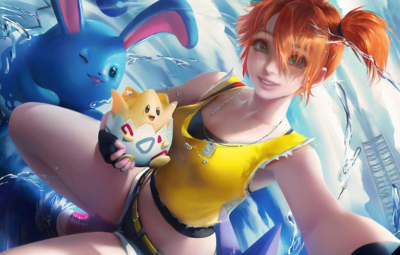 Фото обои misty, beach, animals, art, cartoon, redhead, pokemon, illustration, jeans shorts, anime girl