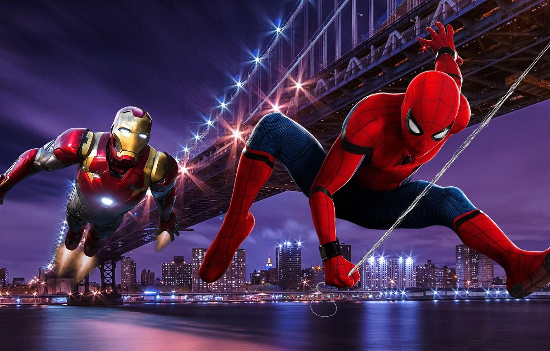 Фото обои Bridge, New York, Night, Iron Man, Tony Stark, Peter Parker, Spider Man
