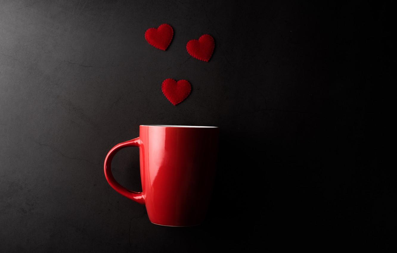 Фото обои кружка, сердечки, День святого Валентина, тёмный фон