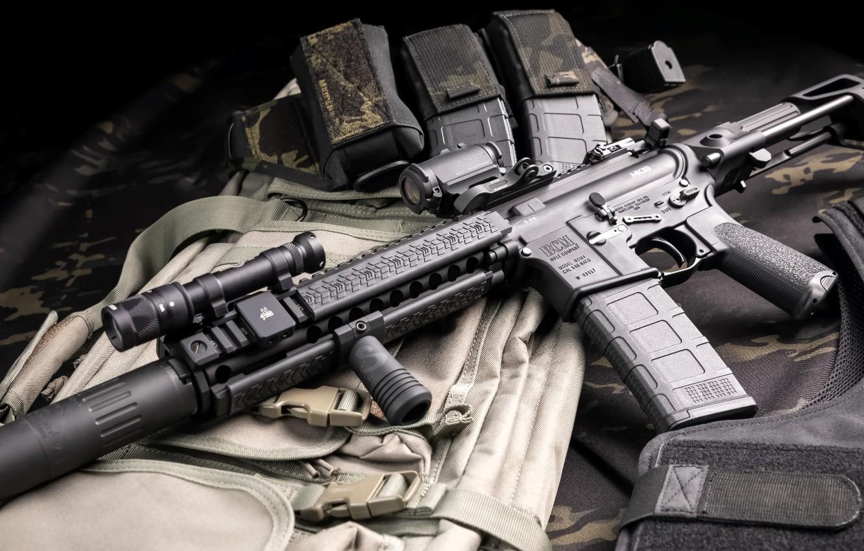 Фото обои оружие, винтовка, weapon, глушитель, custom, ar-15, assault rifle, assault Rifle, silencer, ар-15, ар 15, ar …