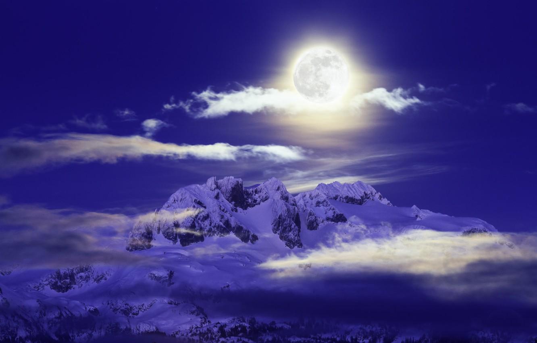 Фото обои горы, ночь, луна, Канада, Canada, British Columbia, Британская Колумбия, Mamquam Mountain, Гора Мамквам, Pacific Ranges