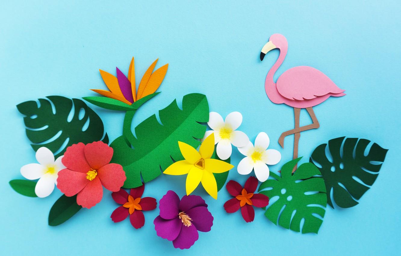 Фото обои цветы, рендеринг, узор, colorful, фламинго, flowers, композиция, rendering, paper, composition, floral