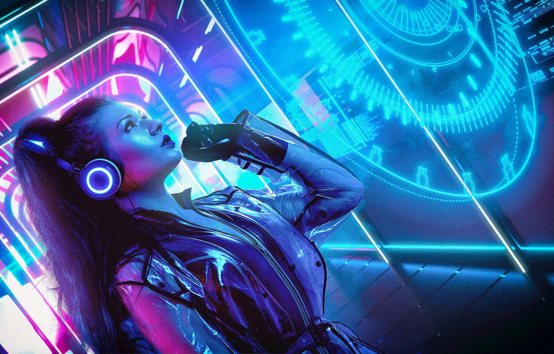 Фото обои Девушка, Музыка, Неон, Фон, Neon, Cyber, Cyberpunk, Synth, Retrowave, Synthwave, New Retro Wave, Futuresynth, Синтвейв, …