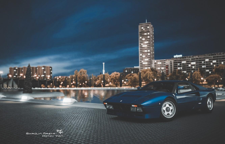 Фото обои Авто, Ночь, Синий, Город, Машина, Ferrari, Суперкар, Спорткар, Gran Turismo, Ferrari GTO, Ferrari 288 GTO, …