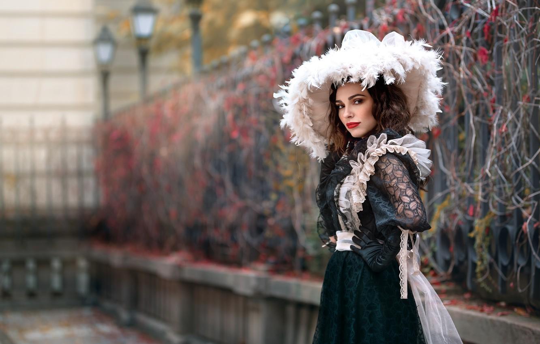 Фото обои девушка, шляпа, платье, боке, Tanya Markova