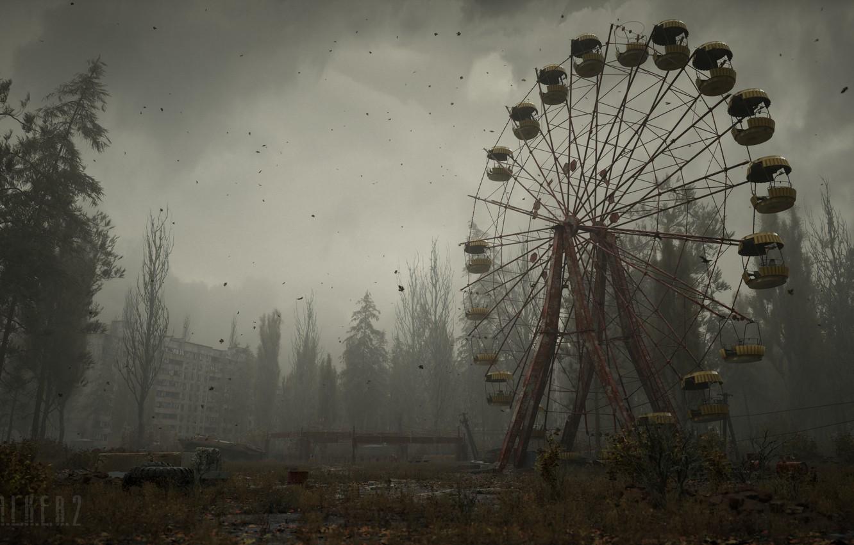 Фото обои Облака, Туман, Деревья, Здание, Сталкер, logo, Логотип, Stalker, Чернобыль, Припять, S.T.A.L.K.E.R. 2, Сталкер 2, S.T.A.L.K.E.R., …