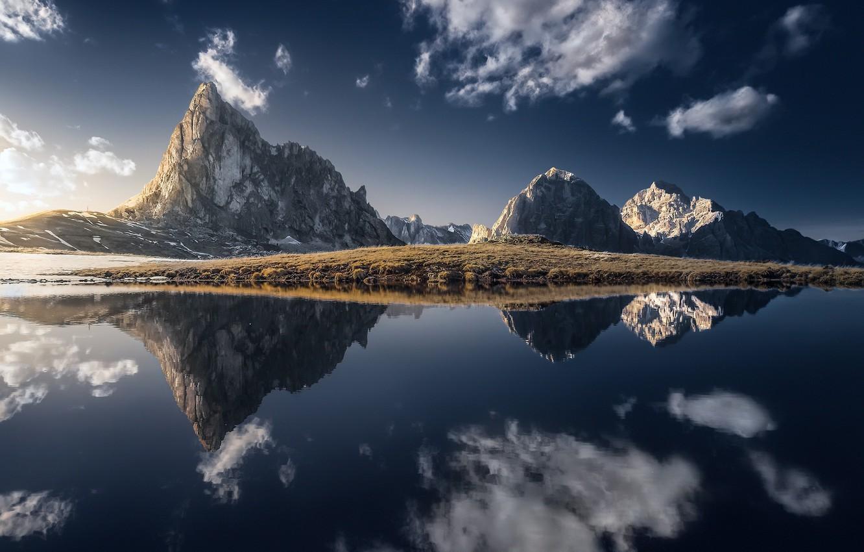 Фото обои небо, горы, берег
