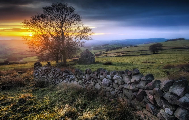 Фото обои dusk, Peak District, Roach End Sunset, drystone wall