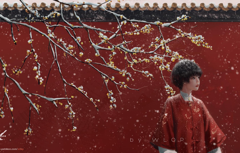 Фото обои девушка, снег, дерево, WLOP, Jade (GhostBlade)