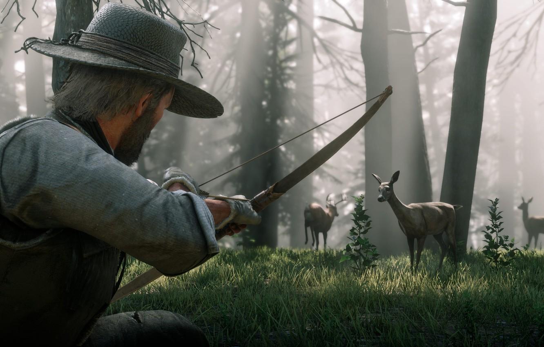 Фото обои лес, шляпа, лук, охота, олени, Rockstar, Бандит, Red Dead Redemption 2