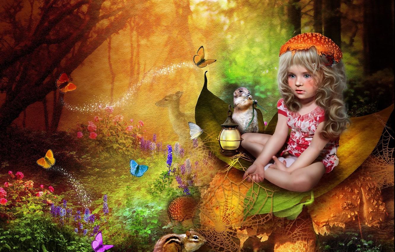 Фото обои лес, паутина, девчка