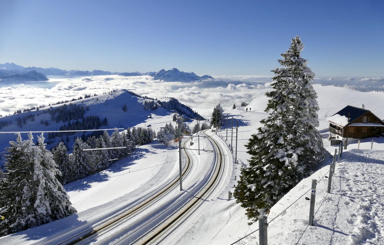 Фото обои зима, дорога, снег, деревья, пейзаж, горы, природа, дом, Швейцария
