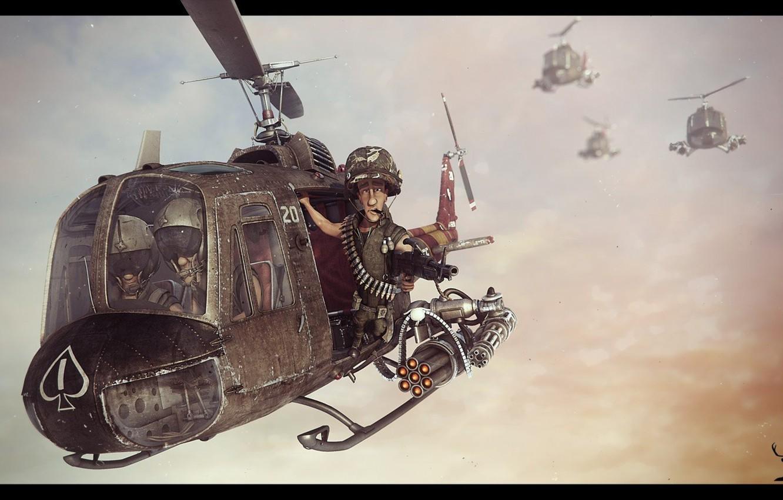 Фото обои оружие, полёт, вертолёт, прикол, американский, art, Bell, US Army, Vietnam war, UH-1 Huey, бортстрелок
