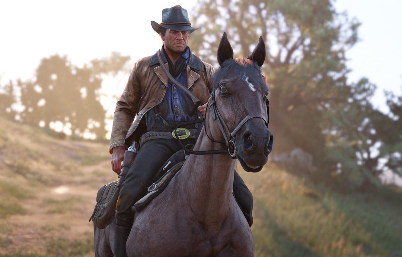 Фото обои лошадь, шляпа, револьвер, Rockstar, Бандит, Red Dead Redemption 2, Arthur Morgan