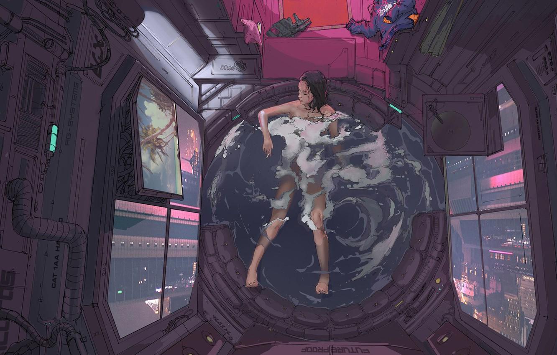 Фото обои Девушка, Рисунок, Ванная, Art, Klaus, Cyber, Cyberpunk, Klaus Wittmann, Wittmann