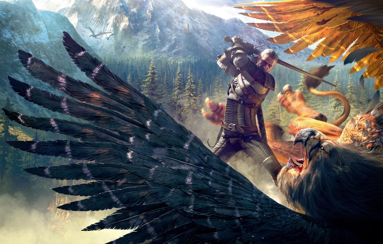 Фото обои горы, птица, Лес, грифон, Ведьмак, Геральт, CD Projekt RED, The Witcher 3: Wild Hunt, Ведьмак ...