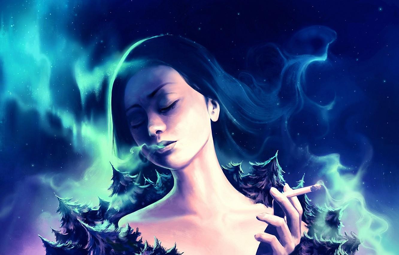 Фото обои космос, звезды, деревья, дым, северное сияние, сигарета, space, планета земля, trees, smoke, stars, planet earth, …