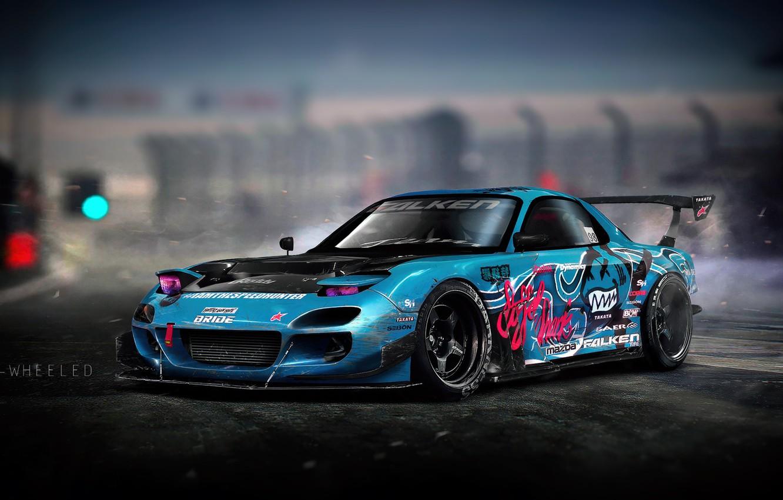 Фото обои Авто, Синий, Машина, Дрифт, Mazda, Illustration, Mazda RX7, Mazda RX-7, RX7, Винилы, Transport & Vehicles, ...