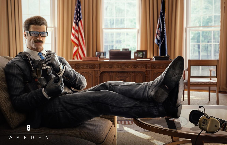 Фото обои очки, костюм, кабинет, Ubisoft, спецназ, Tom Clancy's Rainbow Six Siege, Rainbow Six Siege, Warden, Special …