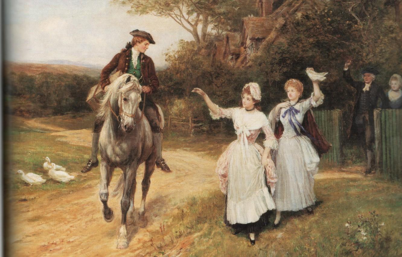 Фото обои гуси, проводы, HARDY, LEAVING HOME, парень на коне