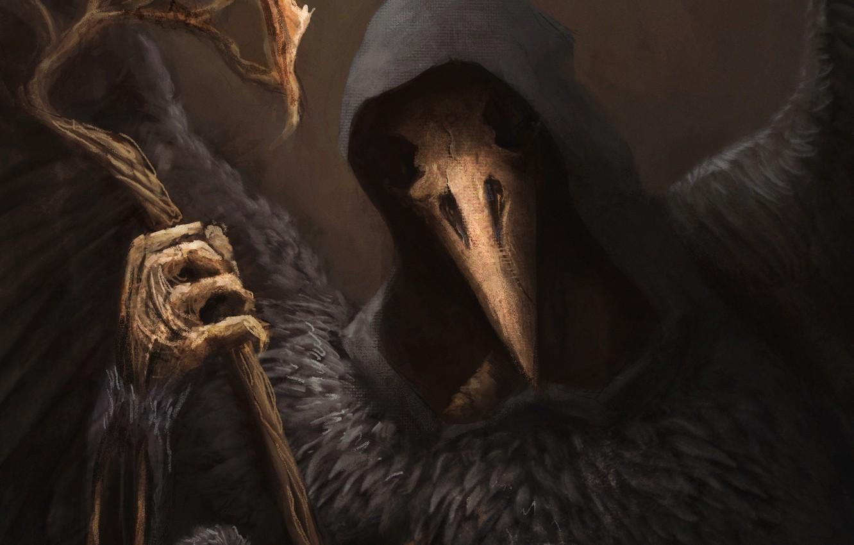 Фото обои фэнтези, арт, скелет, капюшон, ворон, Raven Lord