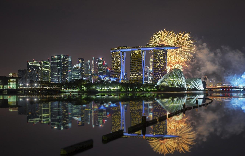Фото обои город, отражение, салют, панорама, Сингапур