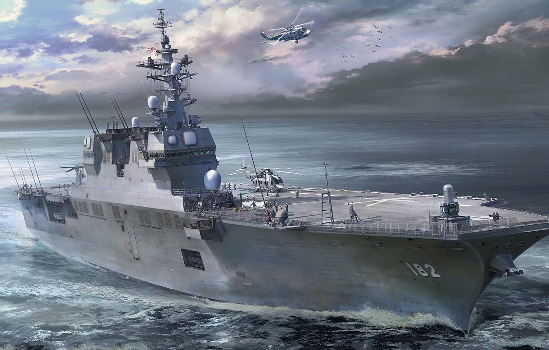 Фото обои ВМС Японии, DDH-182, JS Ise, Морские силы самообороны Японии, Эскадренные миноносцы-вертолётоносцы типа «Хюга»