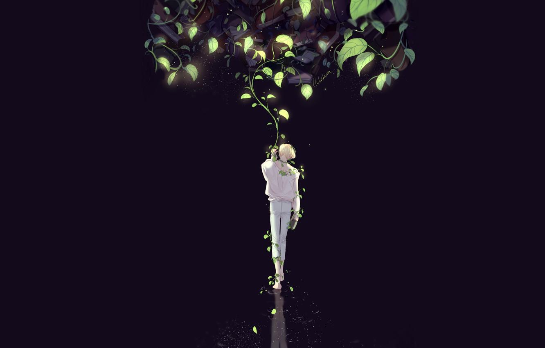 Фото обои листья, ночь, тьма, парень