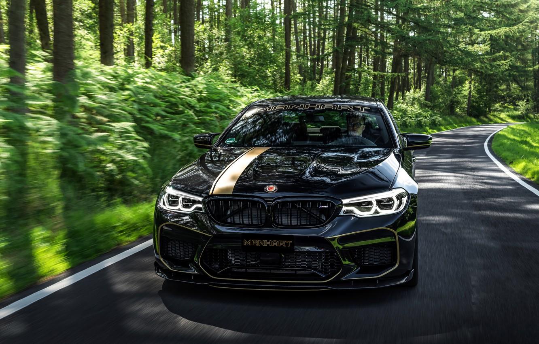 Фото обои дорога, лес, BMW, 2018, Biturbo, Manhart, M5, V8, F90, 4.4 л., 723 л.с., MH5 700