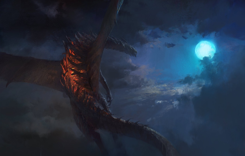 Фото обои moon, fantasy, Dragon, sky, night, clouds, digital art, artwork, fantasy art, creature