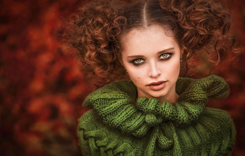 Фото обои взгляд, девушка, лицо, портрет, кудри, свитер, Илона Баимова, Анна Полякова