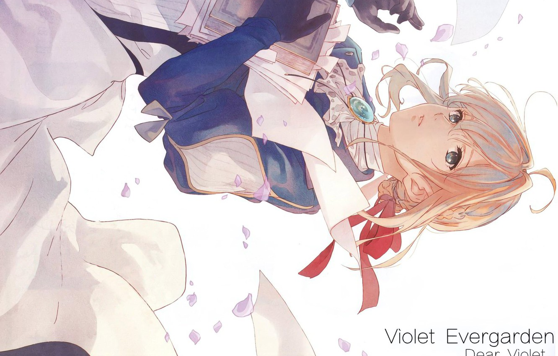 Фото обои книга, брошь, железная рука, красная ленточка, Violet Evergarden, by Akiko Takase