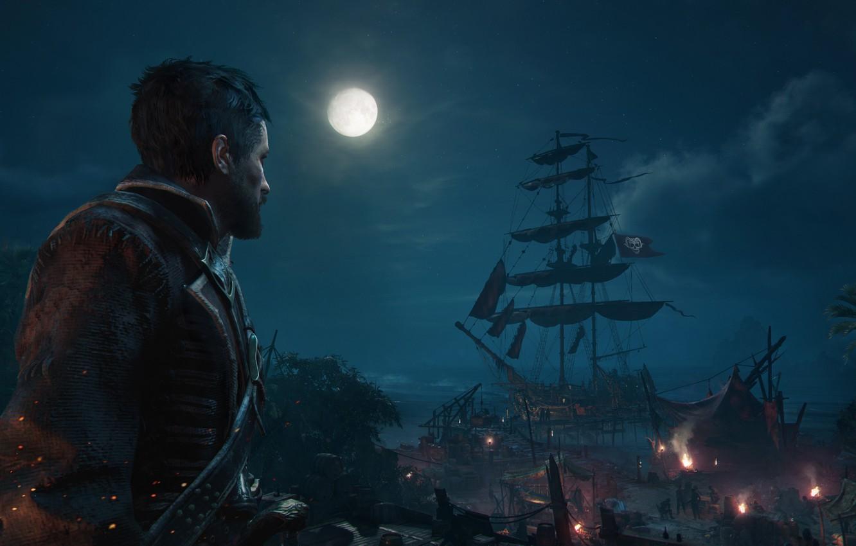 Фото обои ночь, луна, игра, корабль, скриншот, game, screenshot, Череп и кости, Skull & Bones