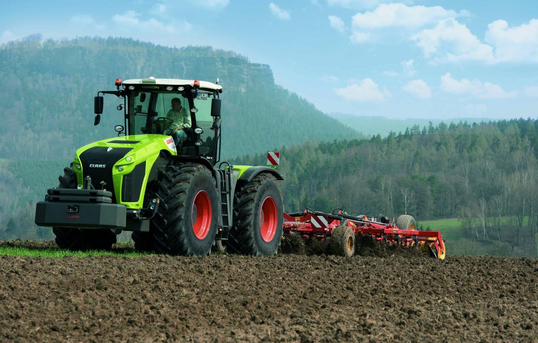 Фото обои поле, трактор, Claas, пахота, сельхозтехника, Xerion 4000