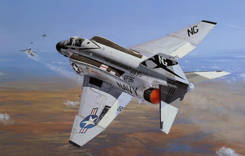 Фото обои war, art, airplane, aviation, jet, f-4 Phantom