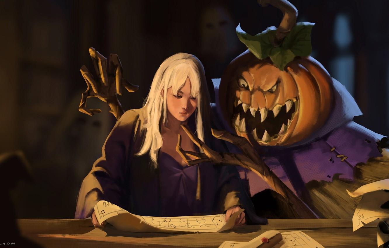 Фото обои монстр, пасть, Halloween, колдовство, колдунья, пугало, зло тыквы, черная магия, тыква с глазами, by Khalid …