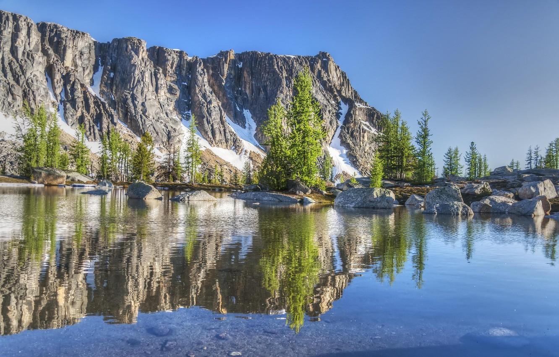 Фото обои небо, пейзаж, природа, скала, озеро, отражение, гора, красота, nature