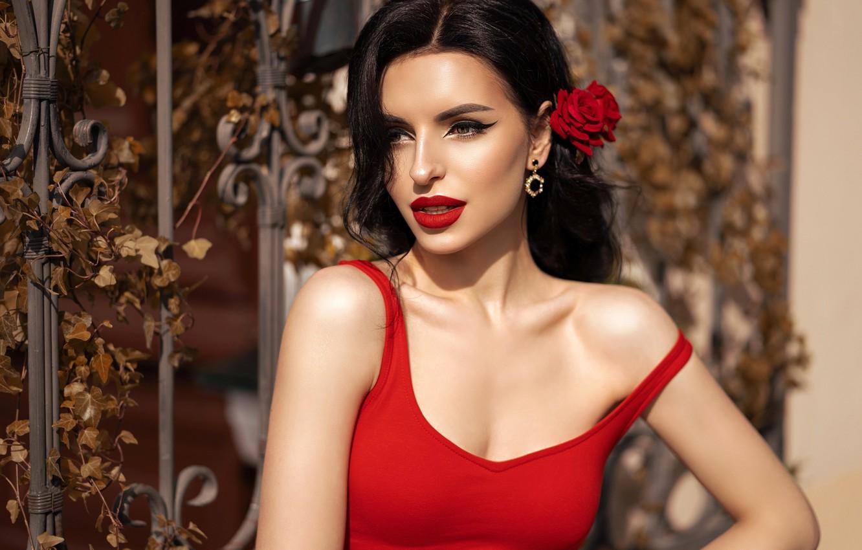 Фото обои цветок, солнце, модель, роза, портрет, макияж, платье, брюнетка, прическа, красотка, в красном, боке, Вероника Качан, …