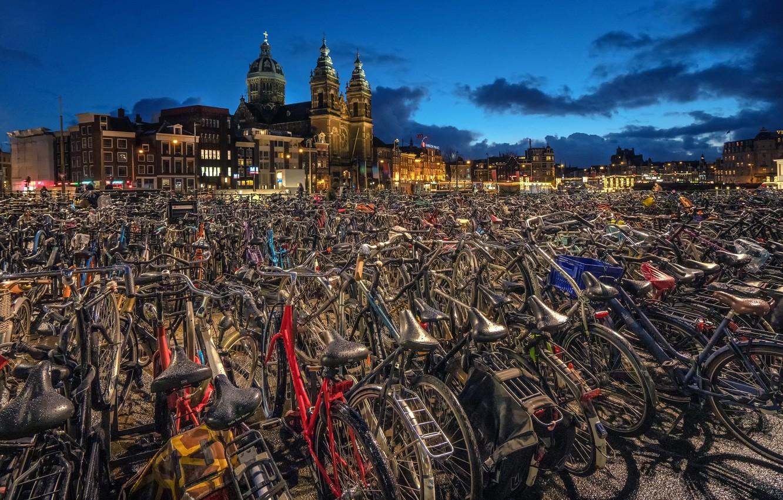 Фото обои Amsterdam, велосипеды, Netherlands, North Holland