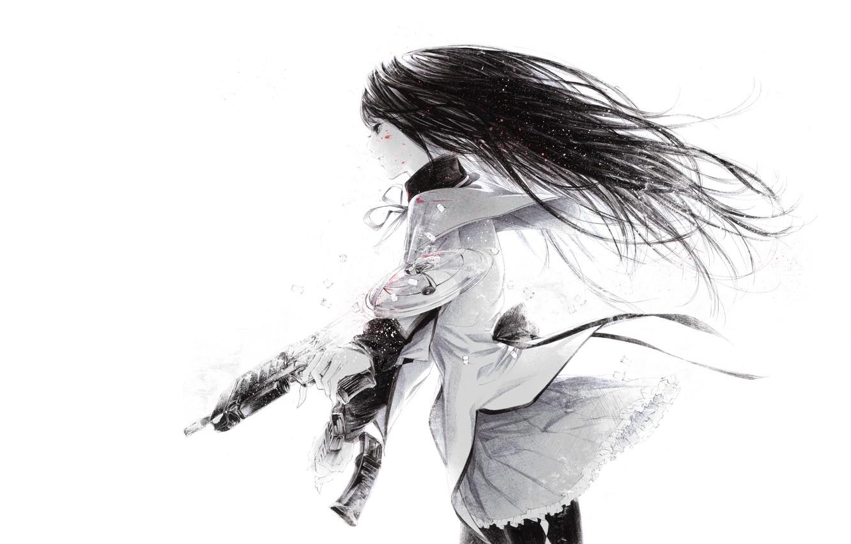 Фото обои автомат, черные волосы, Mahou Shoujo Madoka Magica, брызги крови, супер-оружие, Девочка волшебница Мадока, Homura Akemi, …