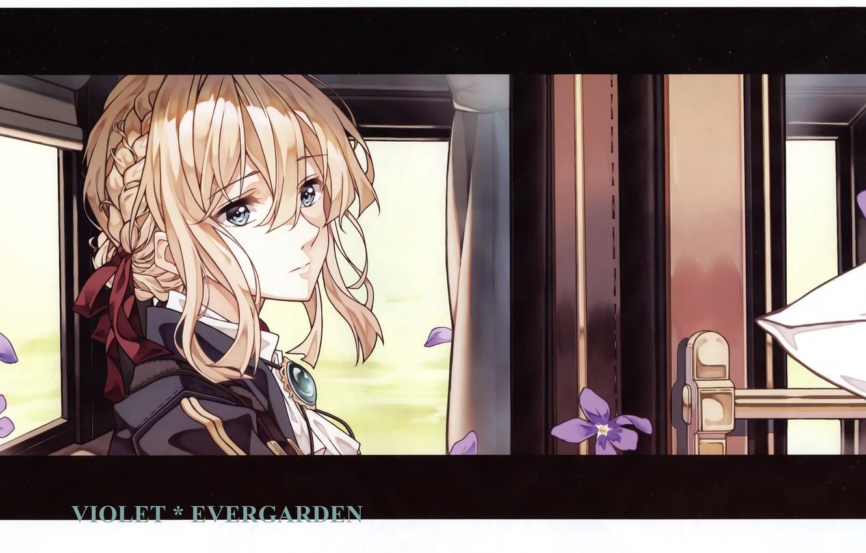 Фото обои лицо, дверь, вагон, перчатки, у окна, фиалки, брошь, Violet Evergarden, by Akiko Takase
