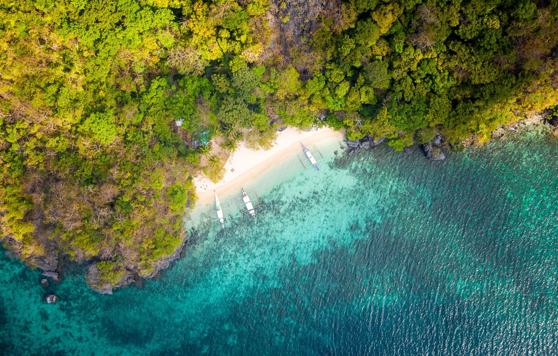 Фото обои beach, boats, tropical, aerial view, shoreline