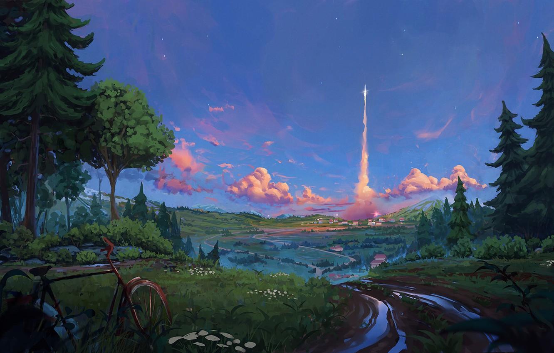 Фото обои forest, bicycle, twilight, road, Landscape, sky, trees, nature, sunset, art, stars, evening, houses, trail, digital …