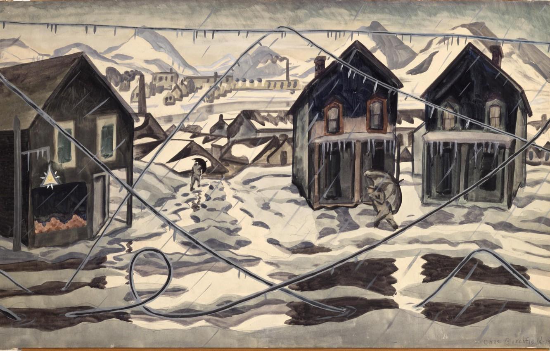 Фото обои 1920, Charles Ephraim Burchfield, Ice Storm, Wires Down