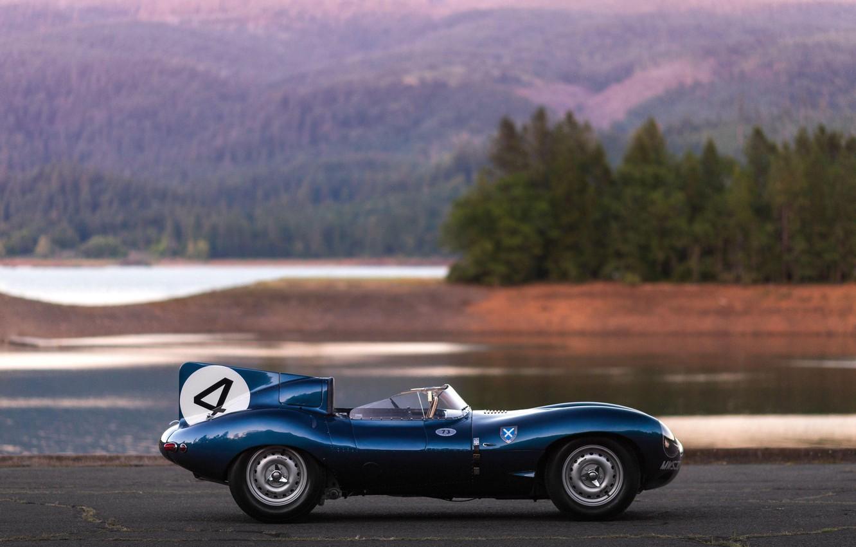Фото обои вид сбоку, Race car, Retro, Jaguar D-Type