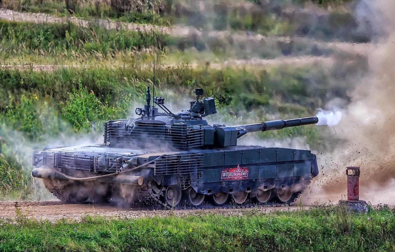 Фото обои выстрел, бронетехника, модернизированный, демонстрация, Т-80БВМ, огневая мощь, танк России