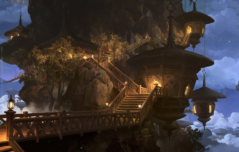 Обои фонари, дома, канал, дворец, тучи, Облака, metz, сумерки, лестница. Города foto 10