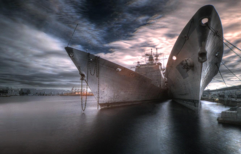 Фото обои город, корабли, порт