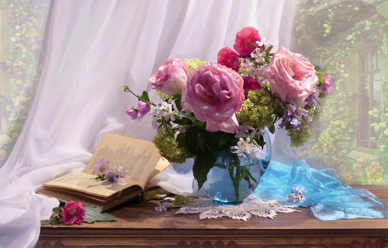 Обои книги, стиль, винтаж, цветы, кувшины. Разное foto 10
